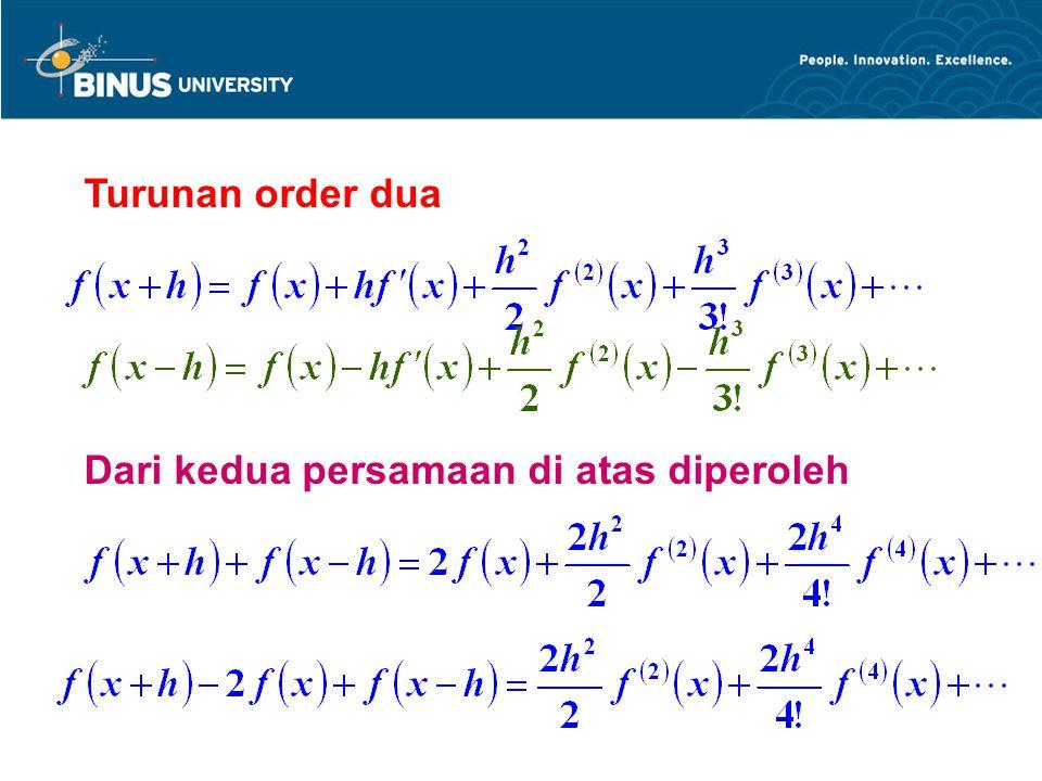 Turunan order dua Dari kedua persamaan di atas diperoleh