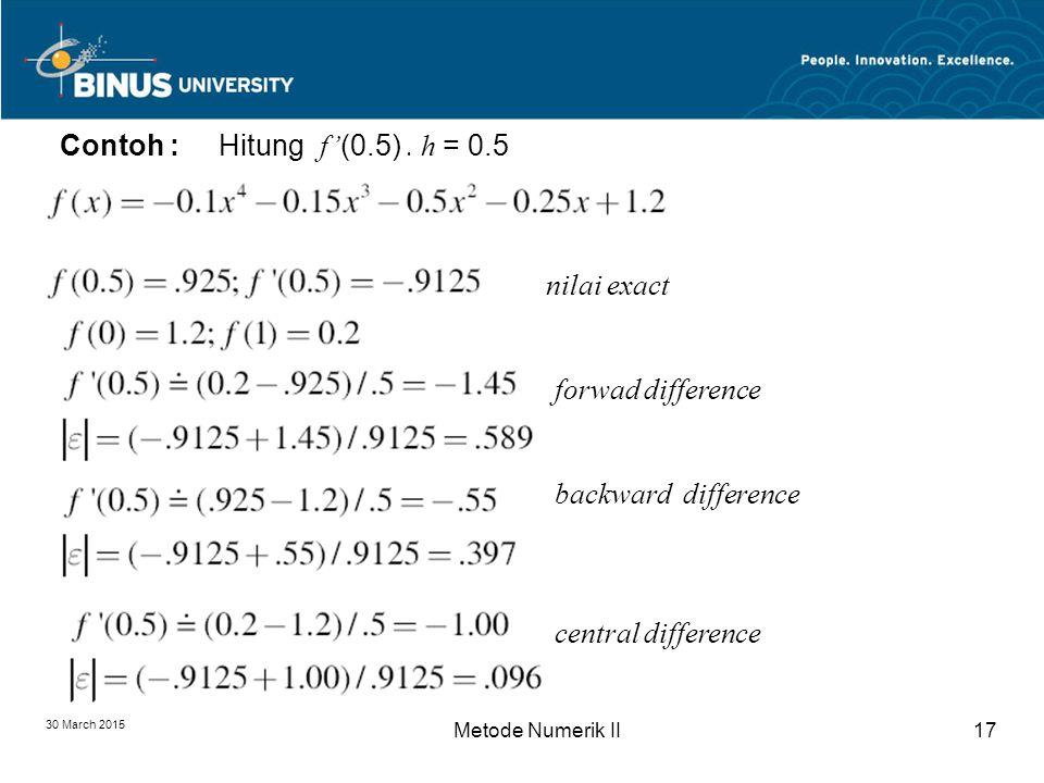 30 March 2015 Metode Numerik II17 Contoh : Hitung f' (0.5).