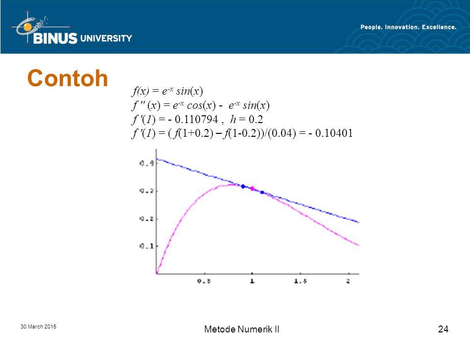 30 March 2015 Metode Numerik II24 Contoh f(x) = e -x sin(x) f (x) = e -x cos(x) - e -x sin(x) f (1) = - 0.110794, h = 0.2 f (1) = ( f(1+0.2) – f(1-0.2))/(0.04) = - 0.10401