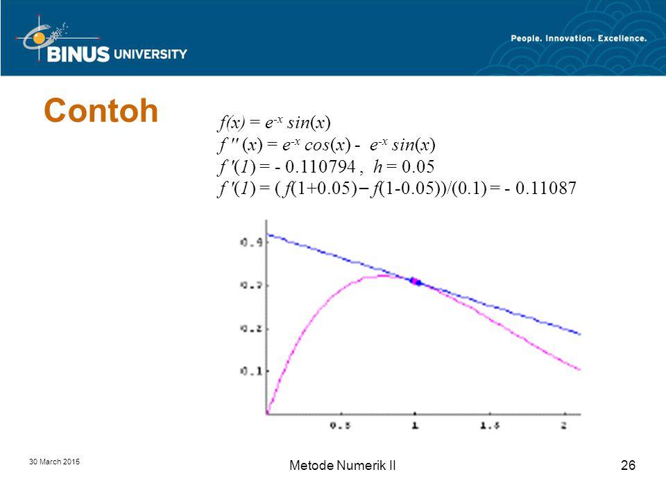 30 March 2015 Metode Numerik II26 Contoh f(x) = e -x sin(x) f (x) = e -x cos(x) - e -x sin(x) f (1) = - 0.110794, h = 0.05 f (1) = ( f(1+0.05) – f(1-0.05))/(0.1) = - 0.11087
