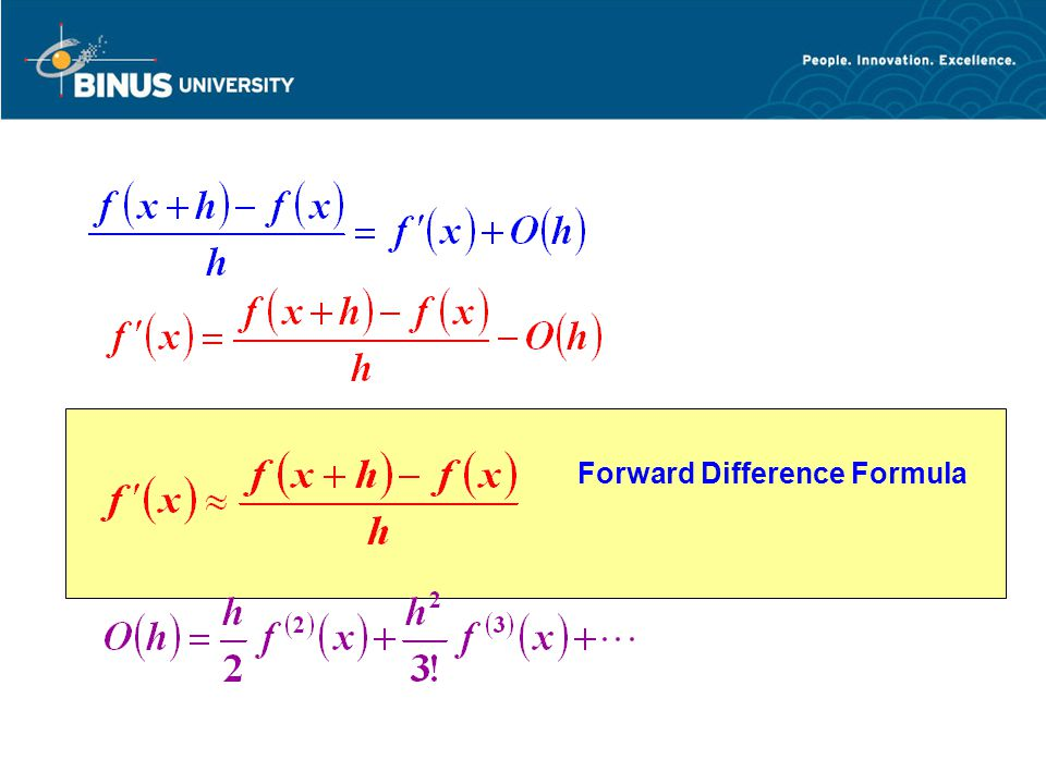 DIFFERENSIASI NUMERIK Bina Nusantara University 5 Backward Difference Formula