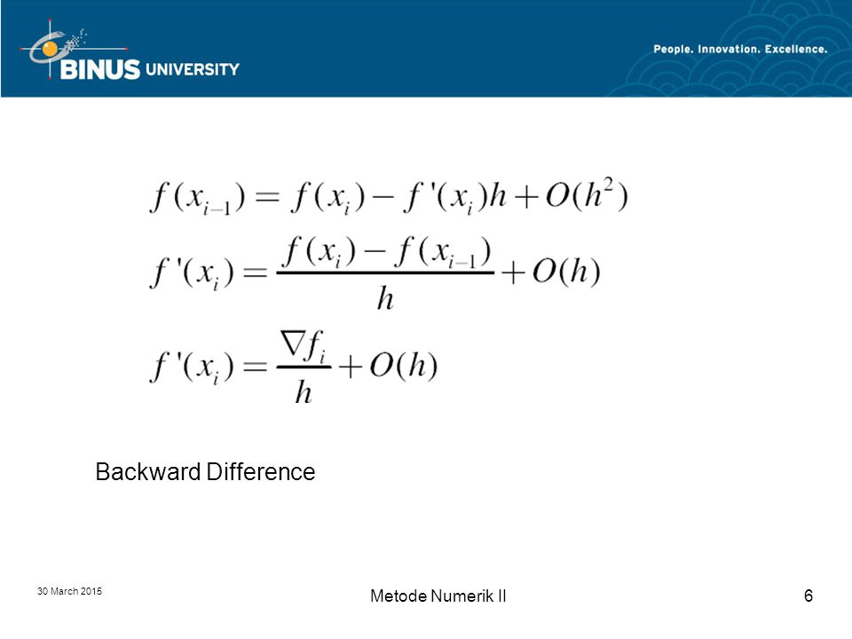 DIFFERENSIASI NUMERIK Bina Nusantara University 7 Central Difference Formula