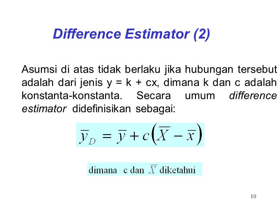 10 Difference Estimator (2) Asumsi di atas tidak berlaku jika hubungan tersebut adalah dari jenis y = k + cx, dimana k dan c adalah konstanta-konstant