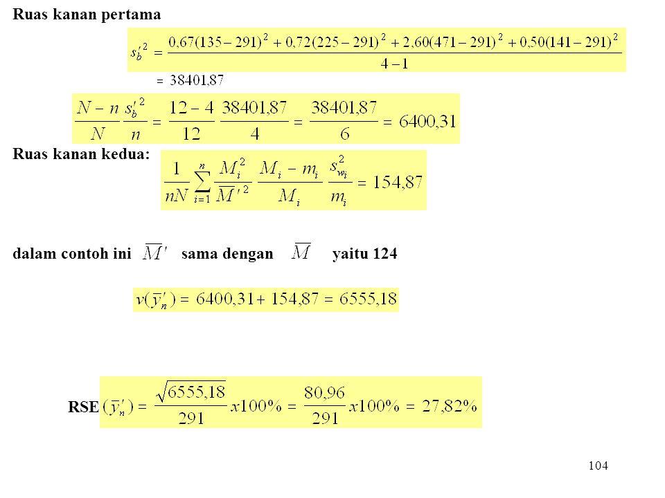 104 Ruas kanan pertama Ruas kanan kedua: dalam contoh ini sama dengan yaitu 124 RSE