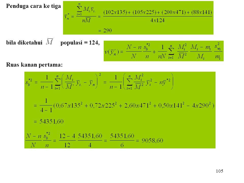 105 Penduga cara ke tiga bila diketahui populasi = 124, Ruas kanan pertama: