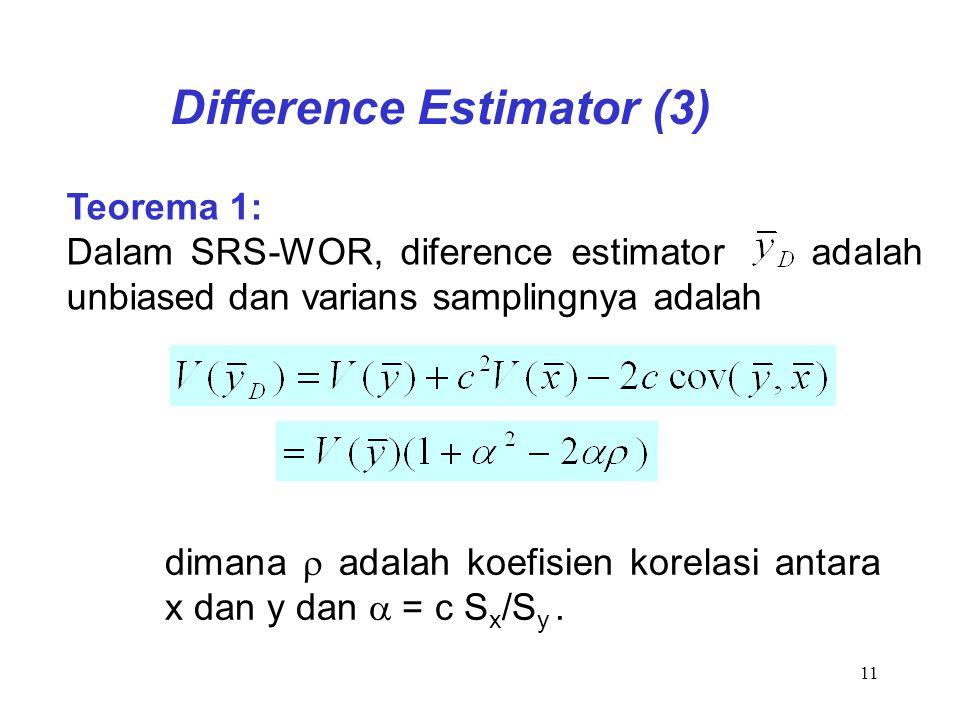11 Teorema 1: Dalam SRS-WOR, diference estimator adalah unbiased dan varians samplingnya adalah Difference Estimator (3) dimana  adalah koefisien kor