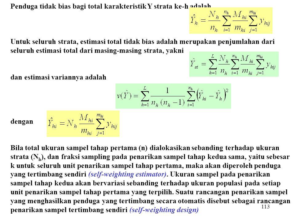 113 Penduga tidak bias bagi total karakteristik Y strata ke-h adalah Untuk seluruh strata, estimasi total tidak bias adalah merupakan penjumlahan dari