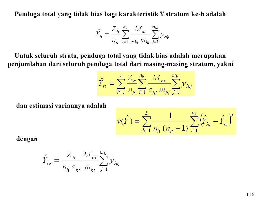116 Penduga total yang tidak bias bagi karakteristik Y stratum ke-h adalah Untuk seluruh strata, penduga total yang tidak bias adalah merupakan penjum