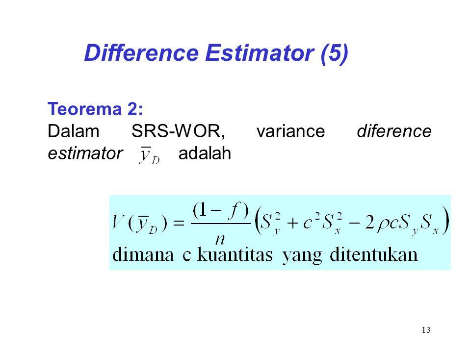 13 Teorema 2: Dalam SRS-WOR, variance diference estimator adalah Difference Estimator (5)