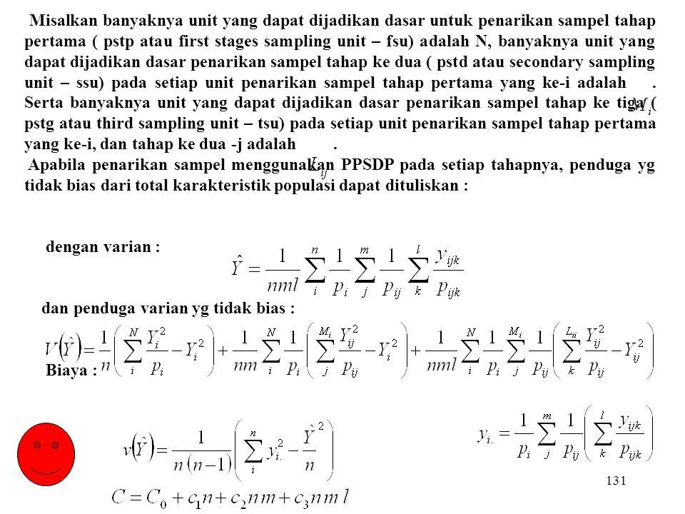 131 Misalkan banyaknya unit yang dapat dijadikan dasar untuk penarikan sampel tahap pertama ( pstp atau first stages sampling unit – fsu) adalah N, ba