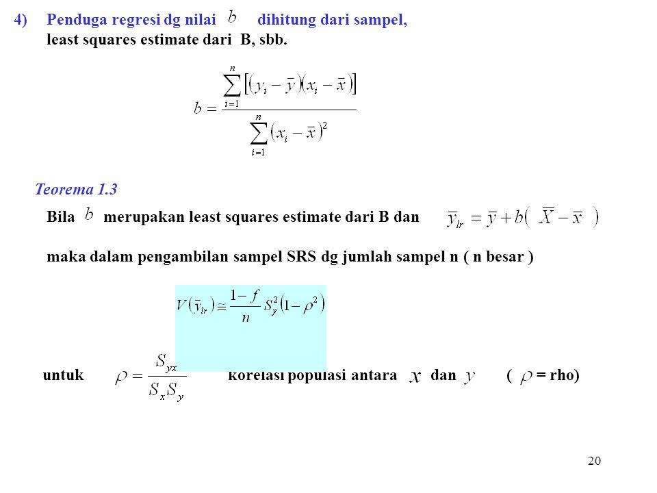 20 4)Penduga regresi dg nilai dihitung dari sampel, least squares estimate dari B, sbb. Bila merupakan least squares estimate dari B dan maka dalam pe
