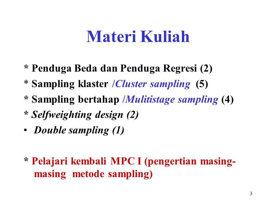 3 Materi Kuliah * Penduga Beda dan Penduga Regresi (2) * Sampling klaster /Cluster sampling (5) * Sampling bertahap /Mulitistage sampling (4) * Selfwe