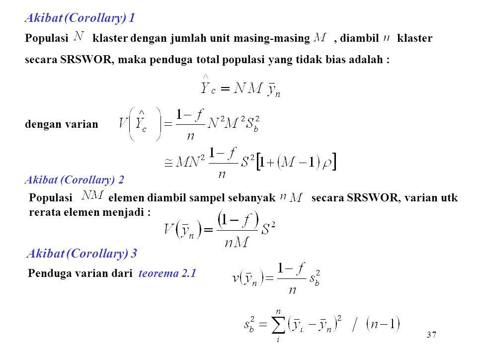 37 Akibat (Corollary) 1 Populasi klaster dengan jumlah unit masing-masing, diambil klaster secara SRSWOR, maka penduga total populasi yang tidak bias