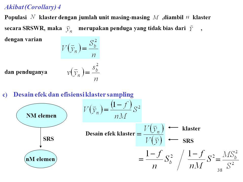 38 Akibat (Corollary) 4 Populasi klaster dengan jumlah unit masing-masing,diambil klaster secara SRSWR, maka merupakan penduga yang tidak bias dari, d