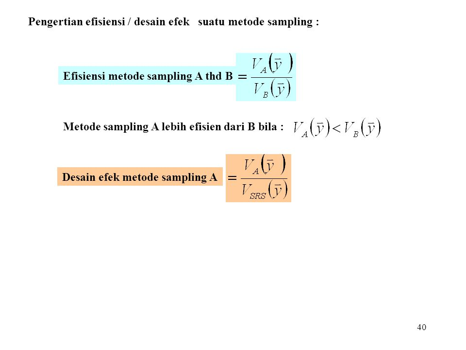 40 Desain efek metode sampling A Efisiensi metode sampling A thd B Pengertian efisiensi / desain efek suatu metode sampling : Metode sampling A lebih