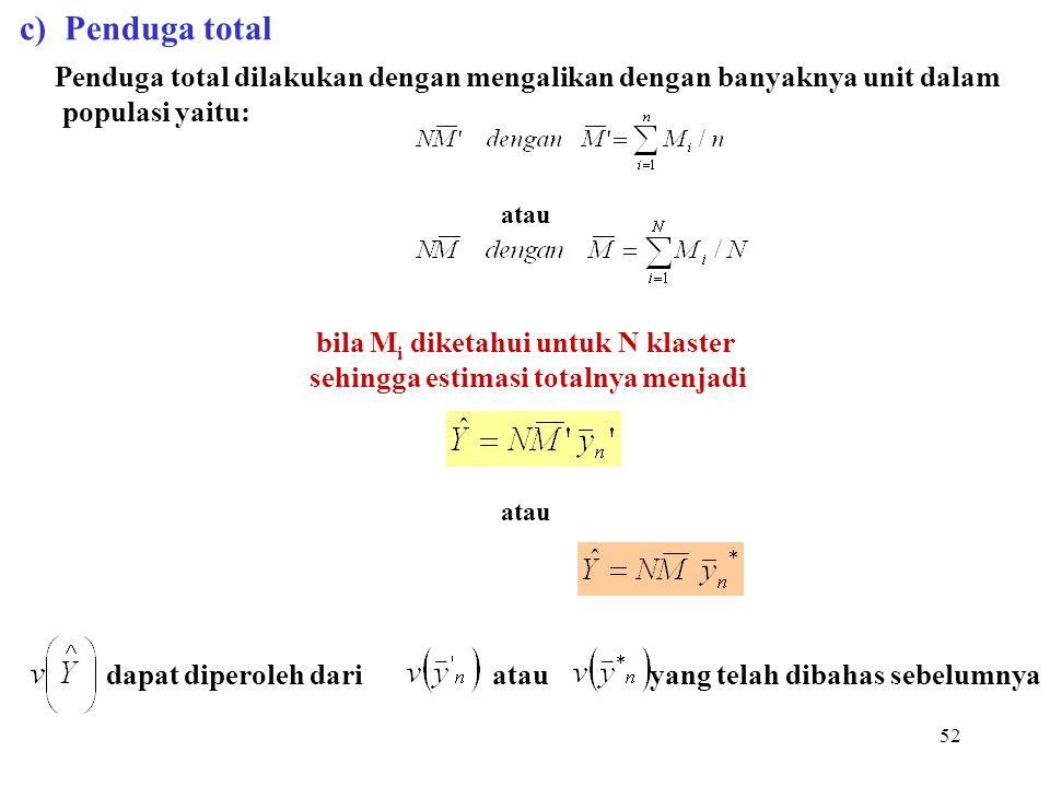 52 c) Penduga total Penduga total dilakukan dengan mengalikan dengan banyaknya unit dalam populasi yaitu: atau bila M i diketahui untuk N klaster sehi
