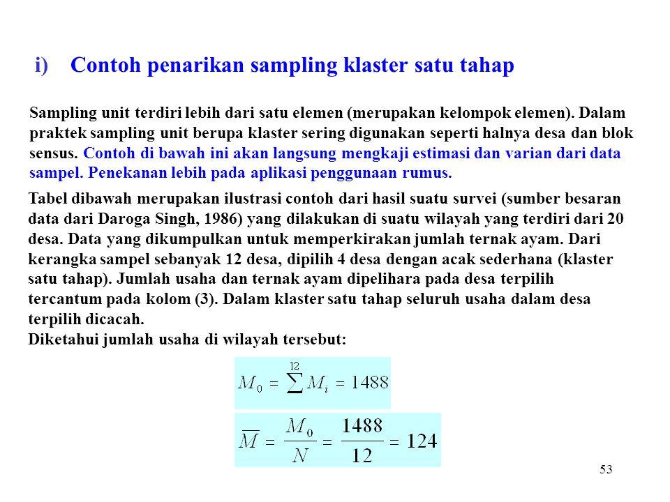 53 Sampling unit terdiri lebih dari satu elemen (merupakan kelompok elemen). Dalam praktek sampling unit berupa klaster sering digunakan seperti halny