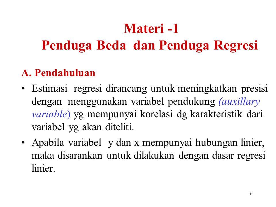 7 Estimator Regresi Seseorang ingin menyempurnakan perkiraan produksi buah mangga di suatu areal lahan.