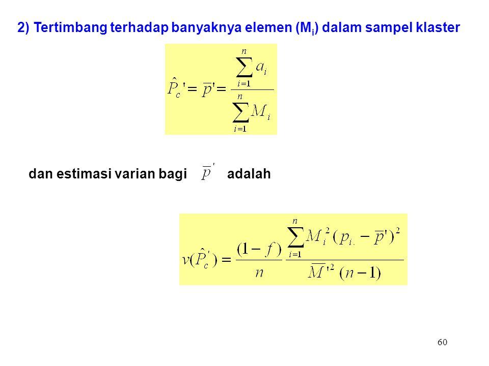 60 2) Tertimbang terhadap banyaknya elemen (M i ) dalam sampel klaster dan estimasi varian bagi adalah