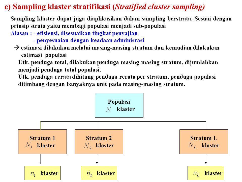 69 Sampling klaster dapat juga diaplikasikan dalam sampling berstrata. Sesuai dengan prinsip strata yaitu membagi populasi menjadi sub-populasi Alasan