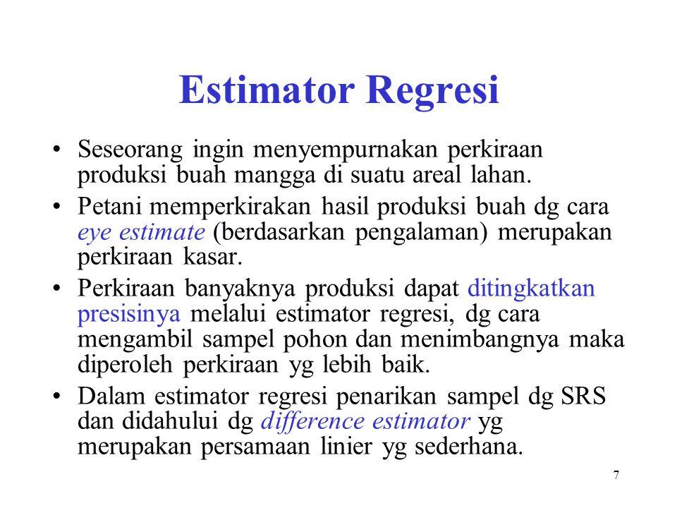7 Estimator Regresi Seseorang ingin menyempurnakan perkiraan produksi buah mangga di suatu areal lahan. Petani memperkirakan hasil produksi buah dg ca