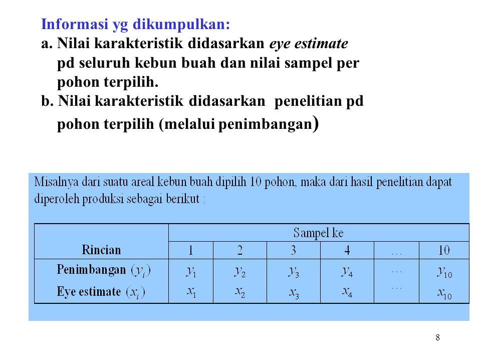 8 Informasi yg dikumpulkan: a. Nilai karakteristik didasarkan eye estimate pd seluruh kebun buah dan nilai sampel per pohon terpilih. b. Nilai karakte
