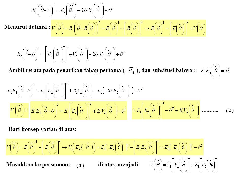 84 Menurut definisi : Ambil rerata pada penarikan tahap pertama ( ), dan subsitusi bahwa : Dari konsep varian di atas: Masukkan ke persamaan di atas,