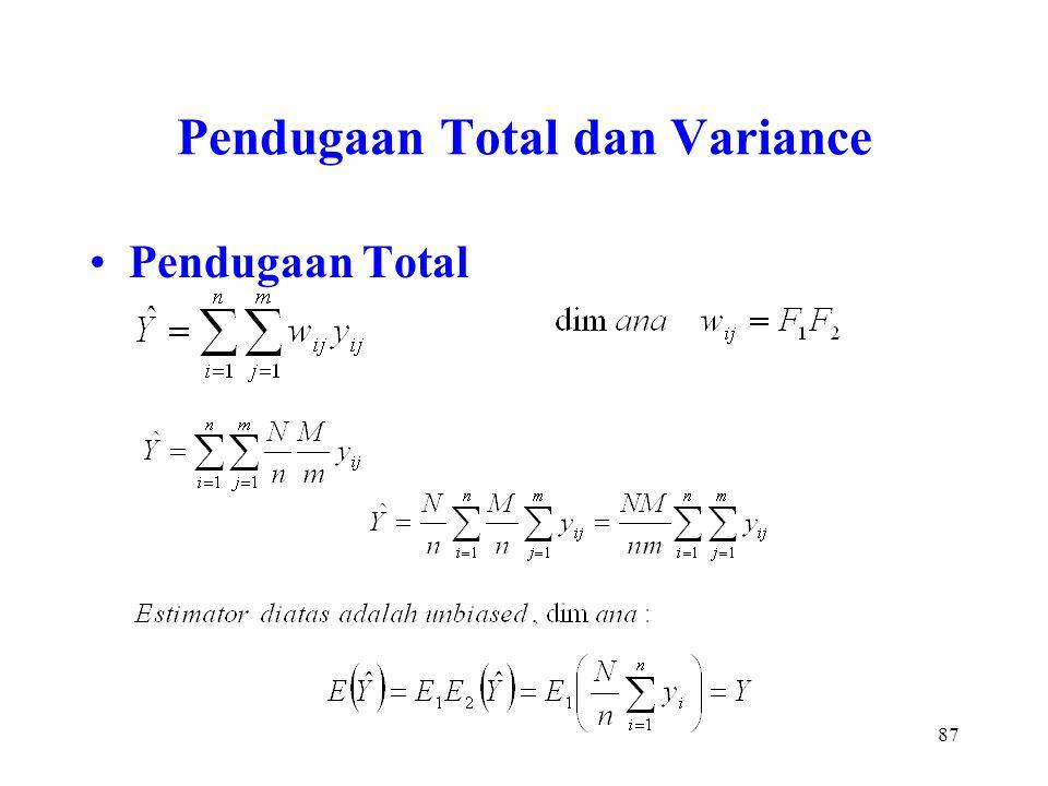 87 Pendugaan Total dan Variance Pendugaan Total