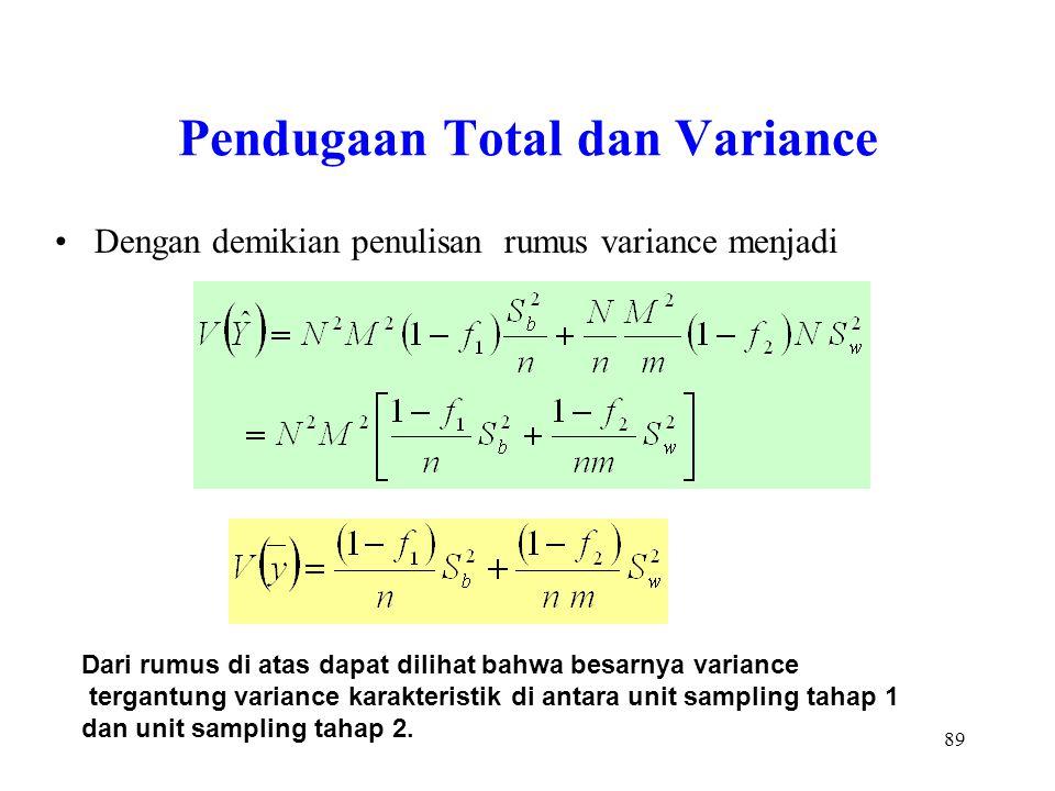 89 Pendugaan Total dan Variance Dengan demikian penulisan rumus variance menjadi Dari rumus di atas dapat dilihat bahwa besarnya variance tergantung v