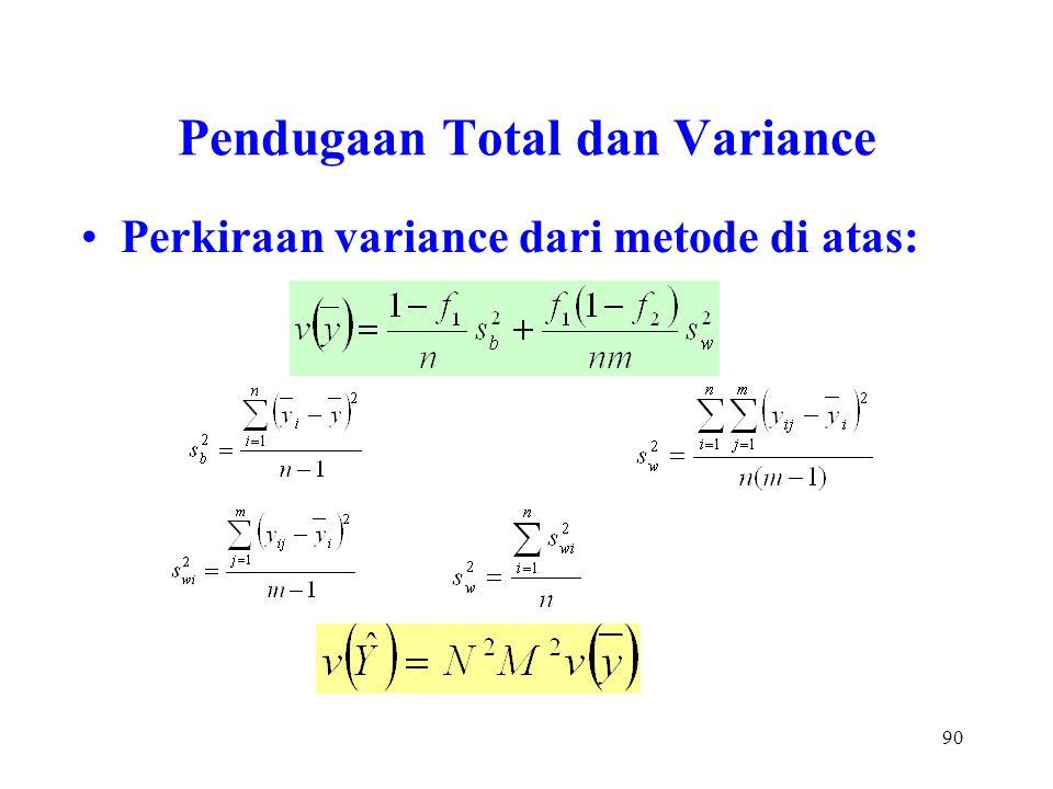90 Pendugaan Total dan Variance Perkiraan variance dari metode di atas: