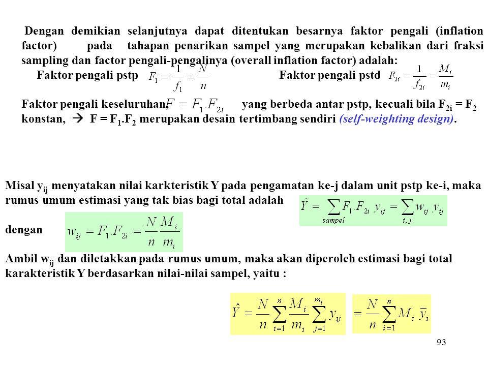 93 Dengan demikian selanjutnya dapat ditentukan besarnya faktor pengali (inflation factor) pada tahapan penarikan sampel yang merupakan kebalikan dari