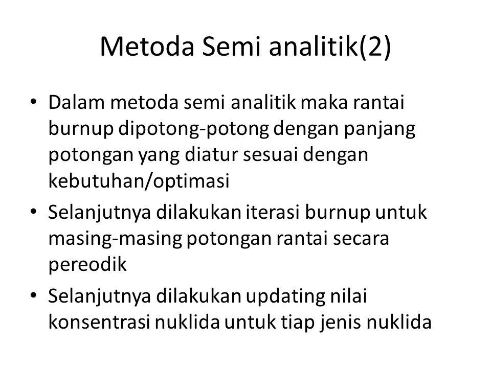Metoda Semi analitik(2) Dalam metoda semi analitik maka rantai burnup dipotong-potong dengan panjang potongan yang diatur sesuai dengan kebutuhan/opti
