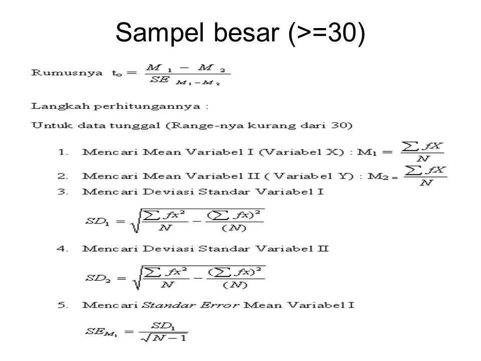 Sampel besar (>=30)