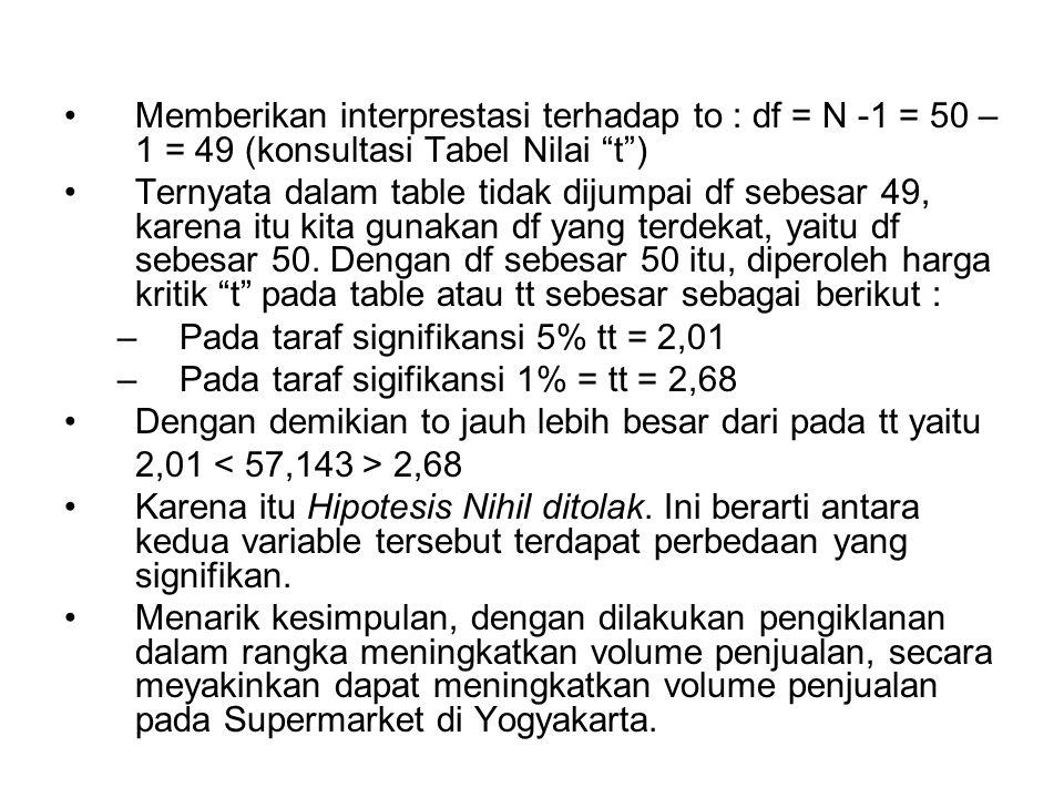 Memberikan interprestasi terhadap to : df = N -1 = 50 – 1 = 49 (konsultasi Tabel Nilai t ) Ternyata dalam table tidak dijumpai df sebesar 49, karena itu kita gunakan df yang terdekat, yaitu df sebesar 50.