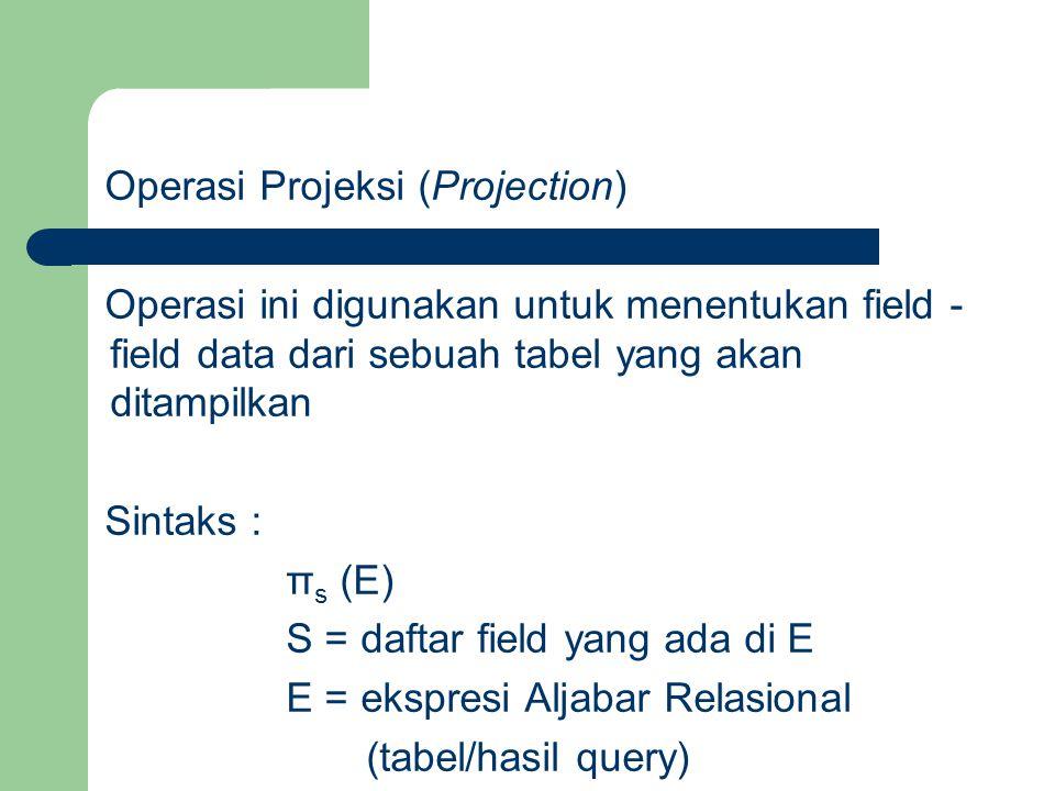 Operasi Projeksi (Projection) Operasi ini digunakan untuk menentukan field - field data dari sebuah tabel yang akan ditampilkan Sintaks : π s (E) S =