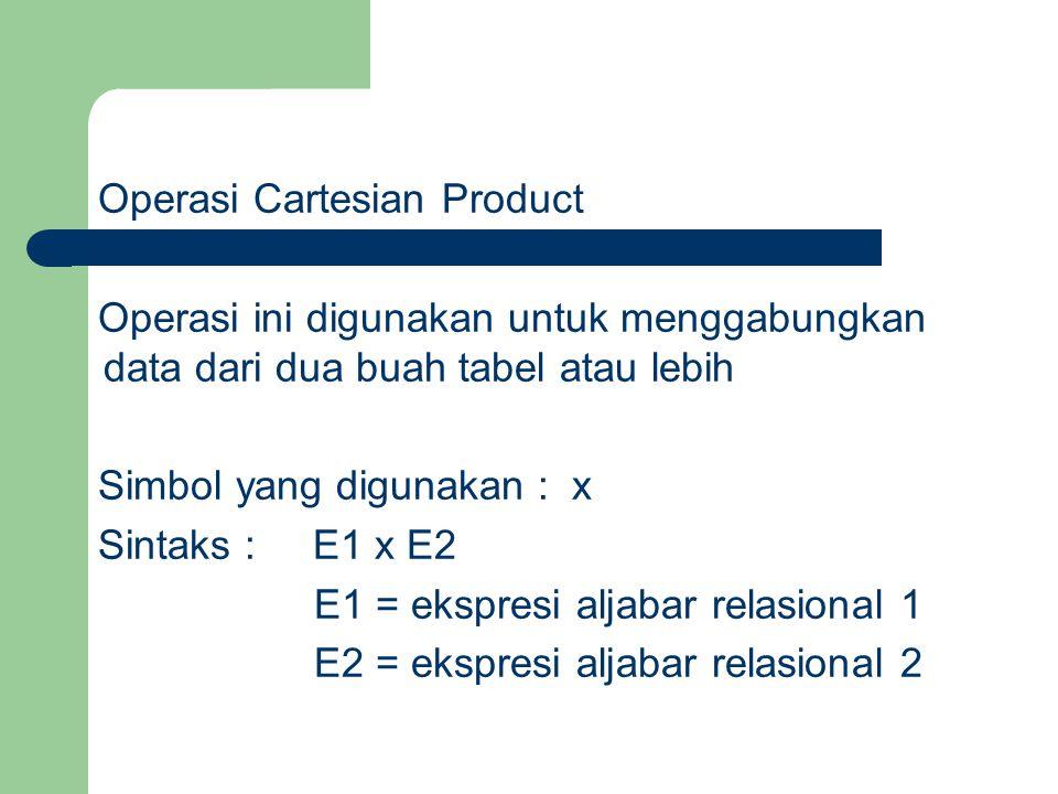 Operasi Cartesian Product Operasi ini digunakan untuk menggabungkan data dari dua buah tabel atau lebih Simbol yang digunakan : x Sintaks : E1 x E2 E1