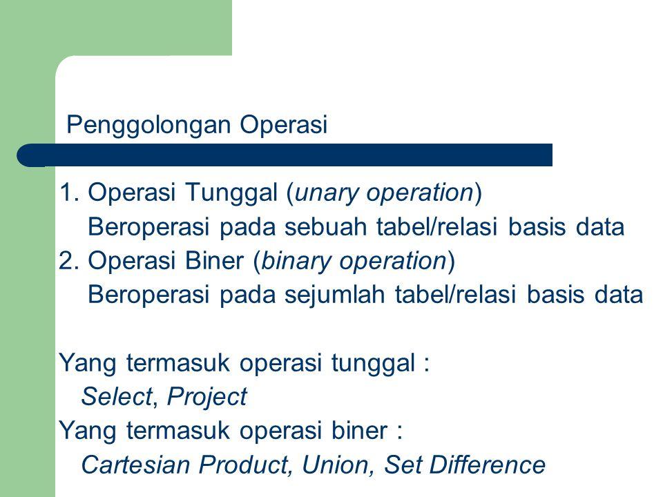 Operasi Seleksi (Selection) Operasi ini digunakan untuk mengambil sejumlah baris data yang memenuhi predikat yang diberikan.