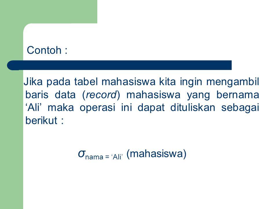 Contoh : Jika pada tabel mahasiswa kita ingin mengambil baris data (record) mahasiswa yang bernama 'Ali' maka operasi ini dapat dituliskan sebagai ber