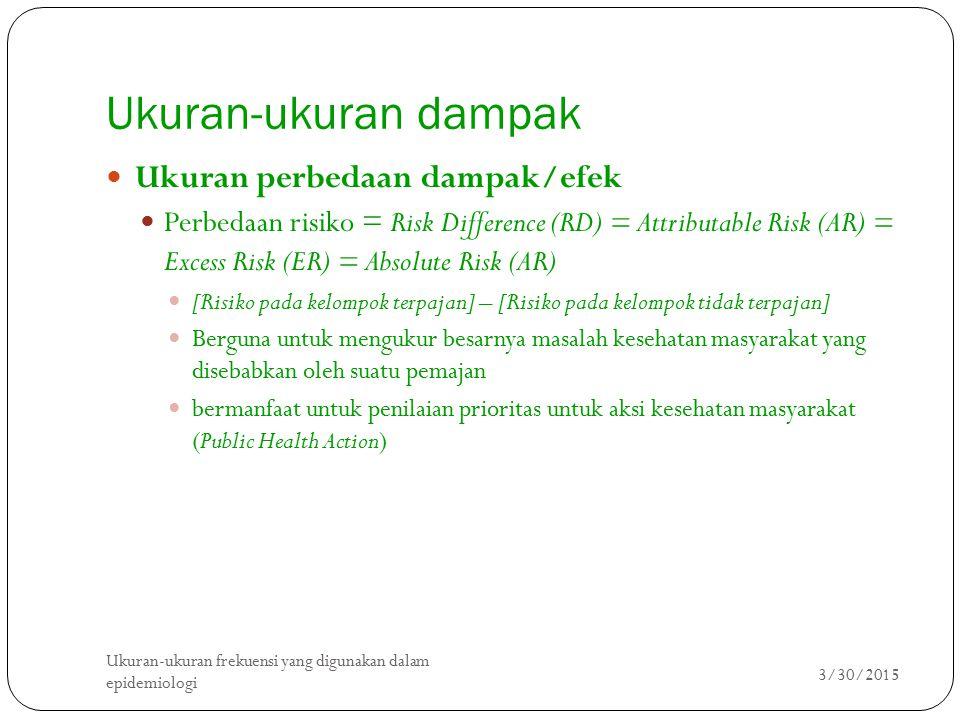 Ukuran-ukuran dampak 3/30/2015 Ukuran-ukuran frekuensi yang digunakan dalam epidemiologi 2 Ukuran perbedaan dampak/efek Perbedaan risiko = Risk Differ