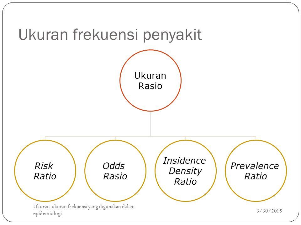 Ukuran frekuensi penyakit Ukuran Rasio Risk Ratio Odds Rasio Insidence Density Ratio Prevalence Ratio 3/30/2015 Ukuran-ukuran frekuensi yang digunakan