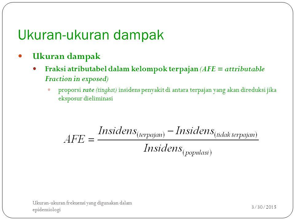 Ukuran-ukuran dampak Ukuran dampak Fraksi atributabel dalam kelompok terpajan (AFE = attributable Fraction in exposed) proporsi rate (tingkat) insiden