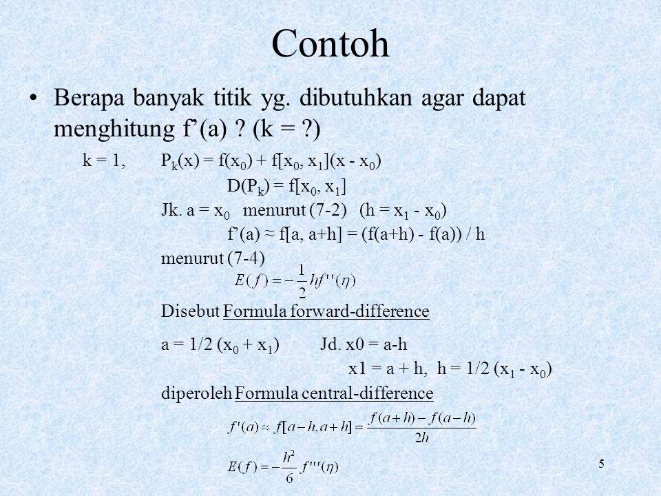 6 Contoh k = 2, P k (x) = f(x 0 ) + f[x 0, x 1 ](x - x 0 ) + f[x 0, x 1, x 2 ] (x - x 0 ) (x - x 1 ) Jk.