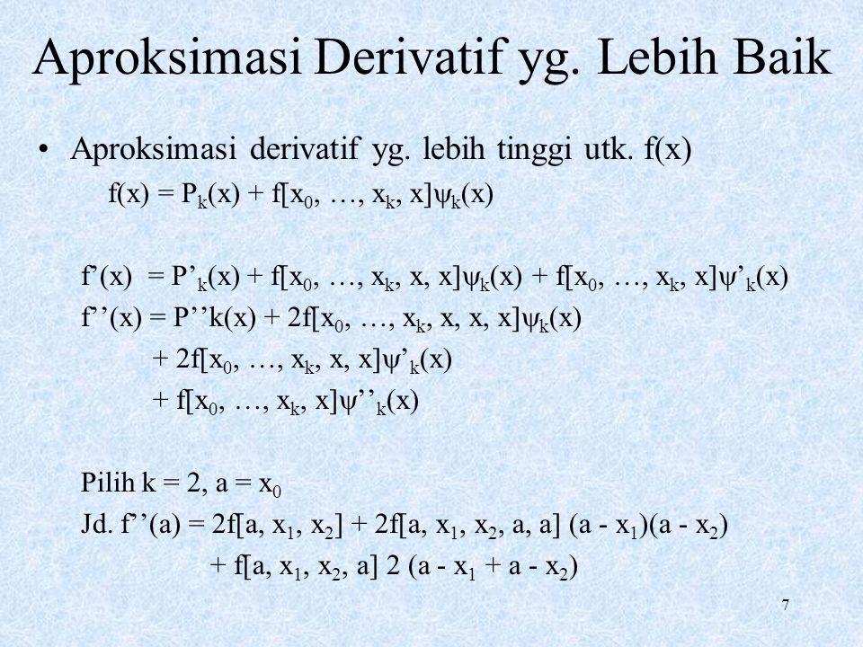 7 Aproksimasi Derivatif yg.Lebih Baik Aproksimasi derivatif yg.