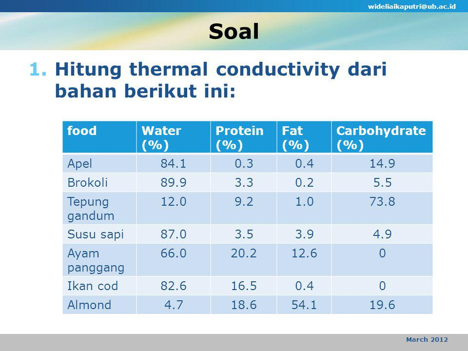 Soal 1.Hitung thermal conductivity dari bahan berikut ini: wideliaikaputri@ub.ac.id March 2012 foodWater (%) Protein (%) Fat (%) Carbohydrate (%) Apel84.10.30.414.9 Brokoli89.93.30.25.5 Tepung gandum 12.09.21.073.8 Susu sapi87.03.53.94.9 Ayam panggang 66.020.212.60 Ikan cod82.616.50.40 Almond4.718.654.119.6