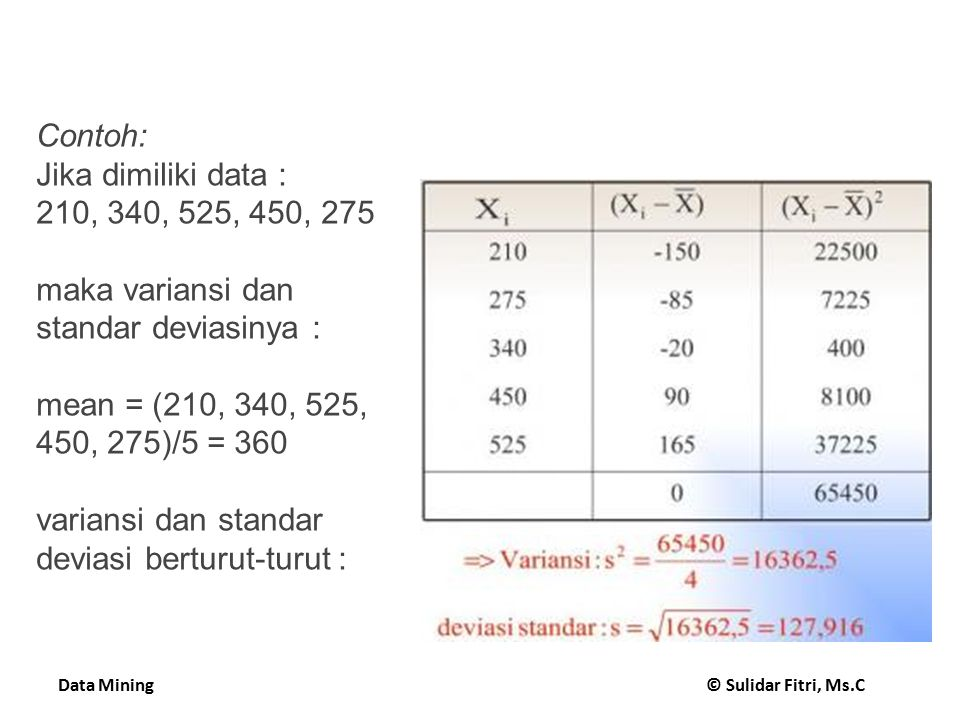 Data Mining © Sulidar Fitri, Ms.C Performing the test 15 Fix a significance level If a difference is significant at the  % level, there is a (100-  )% chance that the true means differ Divide the significance level by two because the test is two-tailed Look up the value for z that corresponds to  /2 If t  –z or t  z then the difference is significant I.e.