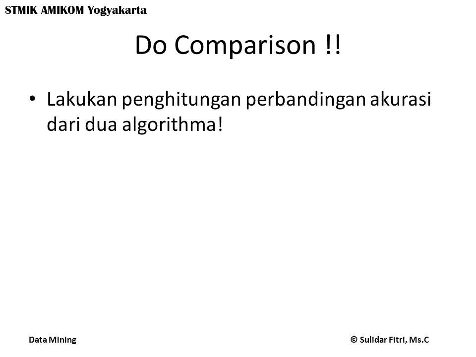 Data Mining © Sulidar Fitri, Ms.C STMIK AMIKOM Yogyakarta Do Comparison !! Lakukan penghitungan perbandingan akurasi dari dua algorithma!