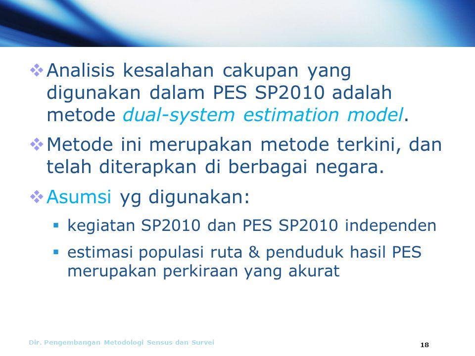  Analisis kesalahan cakupan yang digunakan dalam PES SP2010 adalah metode dual-system estimation model.