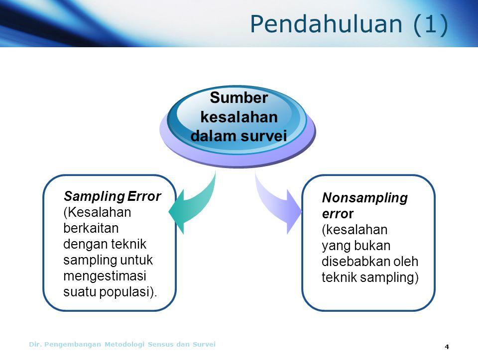 Pendahuluan (1) Sampling Error (Kesalahan berkaitan dengan teknik sampling untuk mengestimasi suatu populasi).