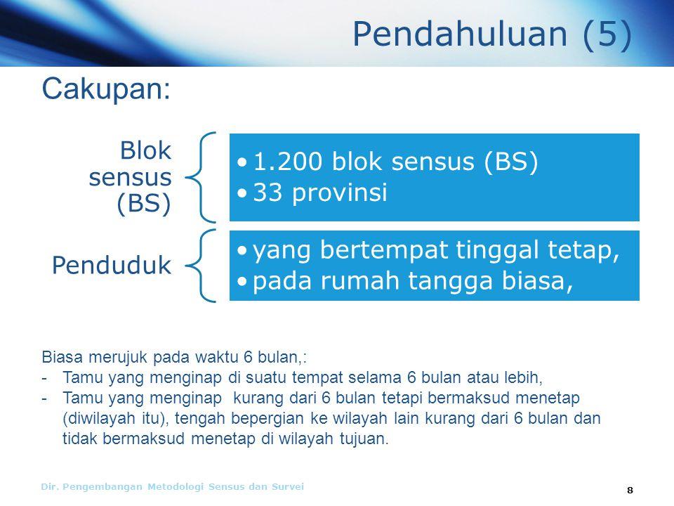 Pendahuluan (5) Blok sensus (BS) 1.200 blok sensus (BS) 33 provinsi Penduduk yang bertempat tinggal tetap, pada rumah tangga biasa, Dir.