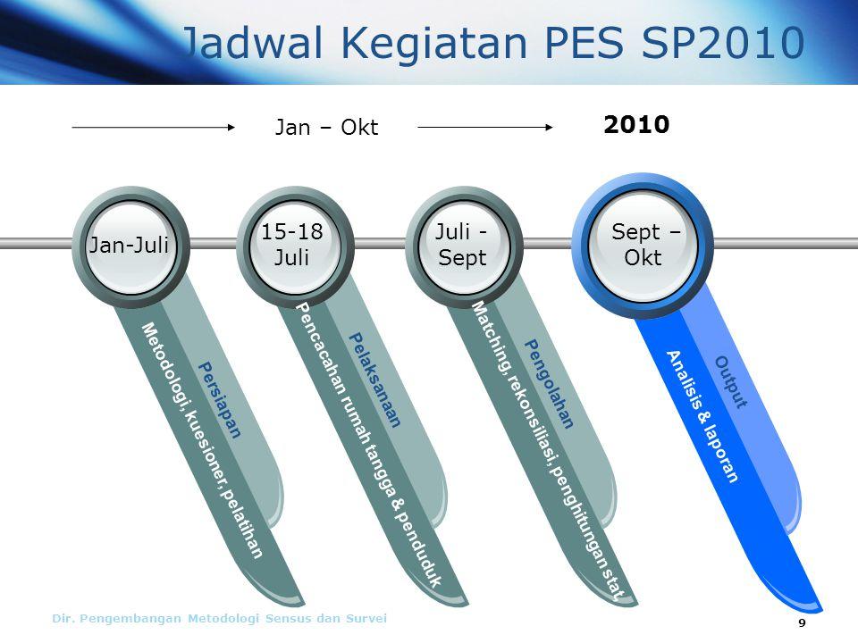 Dir. Pengembangan Metodologi Sensus dan Survei Jadwal Kegiatan PES SP2010 Metodologi, kuesioner, pelatihan Persiapan Pencacahan rumah tangga & pendudu